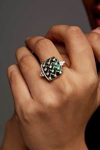Gold Finish Enameled & Zircon Ring In Sterling Silver by Rohira Jaipur