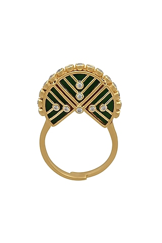 Gold Finish Green Enameled & Zircon Crown Ring In Sterling Silver by Rohira Jaipur