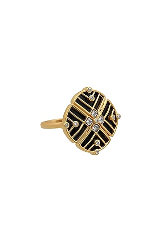 Gold Finish Zircon & Enameled Floral Ring In Sterling Silver by Rohira Jaipur