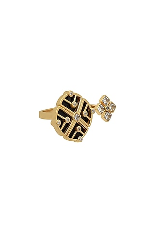 Gold Finish Enameled Ring In Sterling Silver by Rohira Jaipur
