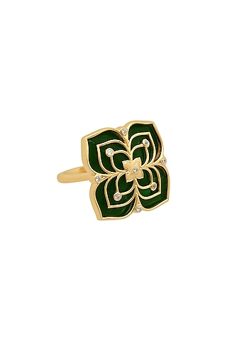 Gold Finish Enameled & Zircon Floral Ring In Sterling Silver by Rohira Jaipur