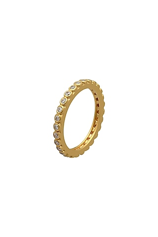 Gold Finish Enambeled Ring In Sterling Silver With Zircons by Rohira Jaipur