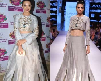 Grey embroidered crop top with matching lehenga by Payal Singhal