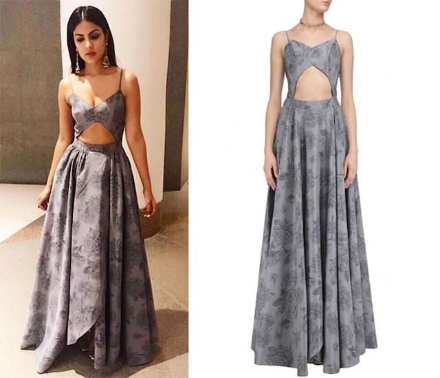 Grey Mogra Print Cut Out Assymetric Gown by Nishka Lulla