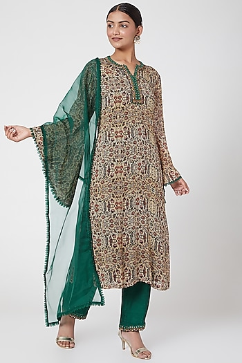 Green & Beige Embroidered Kurta Set by Ridhima Bhasin