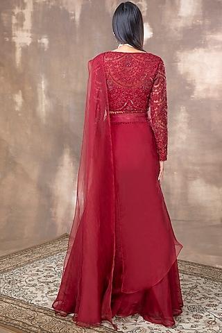 Crimson Red Embroidered Sharara Set by Ridhima Bhasin