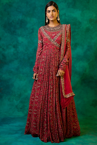 Hot Pink Embellished Anarkali Set by Ridhima Bhasin