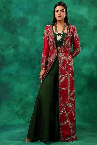 Pink & Green Embroidered Kurta Set by Ridhima Bhasin