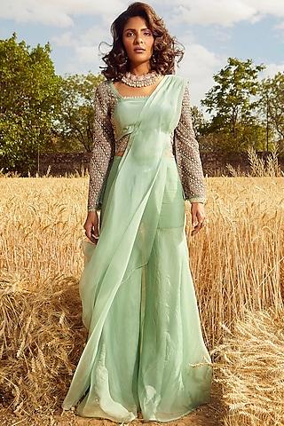 Aqua Green Hand & Machine Embroidered Sharara Saree Set by Ridhima Bhasin