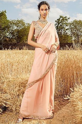 Blush Pink Hand Embroidered Pre-Draped Saree Set by Ridhima Bhasin