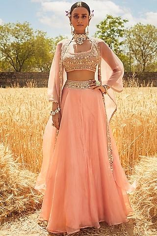 Blush Pink Hand Embroidered Lehenga Set by Ridhima Bhasin