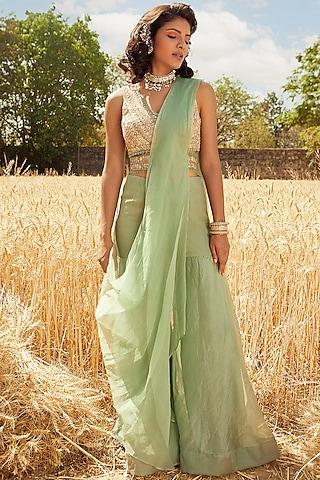 Aqua Green Hand Embroidered Sharara Saree Set With Belt by Ridhima Bhasin