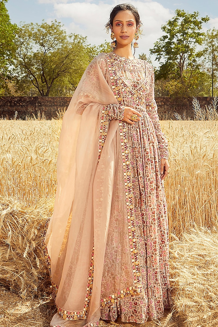 Blush Pink Hand Embroidered & Printed Angrakha Anarkali Set by Ridhima Bhasin