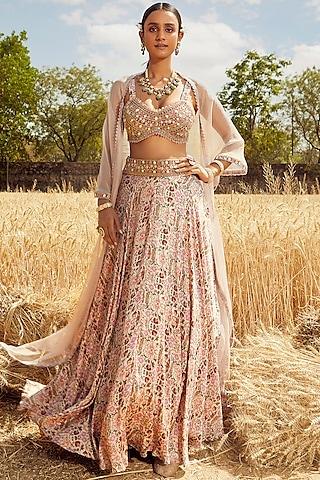 Blush Pink Hand & Machine Embroidered Lehenga Set by Ridhima Bhasin
