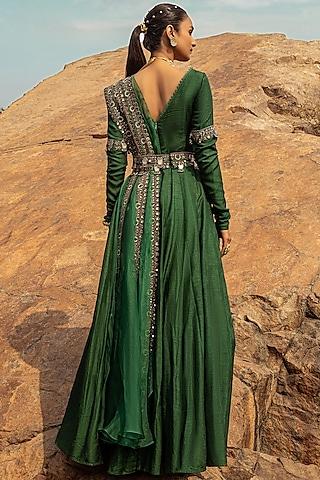 Emerald Green Embroidered Anarkali Set by Ridhima Bhasin