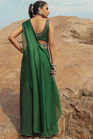 Emerald Green Embroidered Saree Set With Belt by Ridhima Bhasin