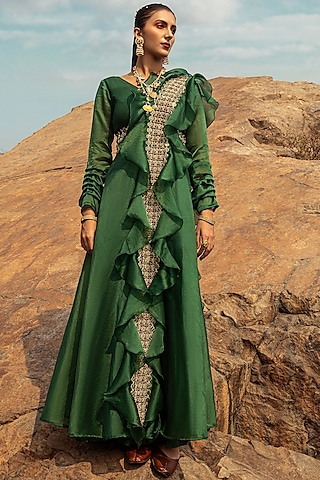 Emerald Green Embroidered Jumpsuit by Ridhima Bhasin