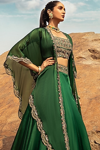 Emerald Green Embroidered Skirt Set by Ridhima Bhasin