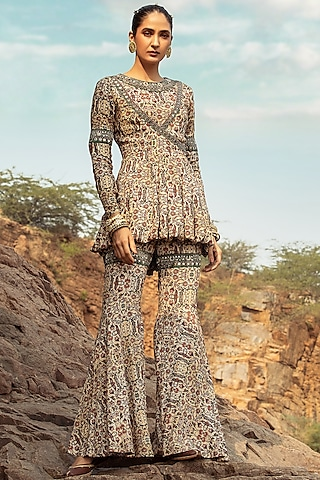 Beige Embroidered Pant Set by Ridhima Bhasin