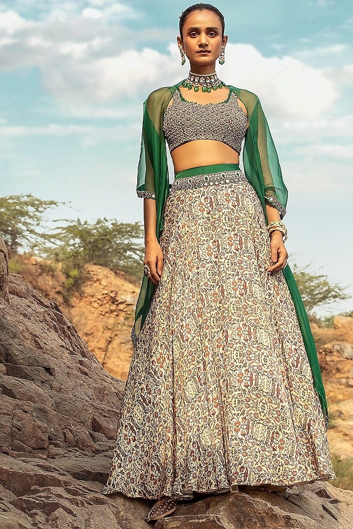 Beige & Green Embroidered Skirt Set With Drape by Ridhima Bhasin