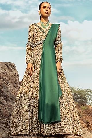 Beige & Green Embroidered Anarkali Set With Belt by Ridhima Bhasin