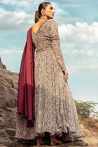 Beige & Maroon Embroidered Anarkali Set With Belt by Ridhima Bhasin