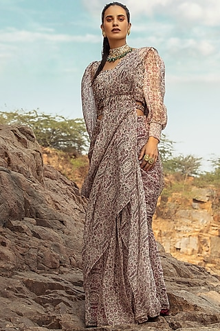 Plum Embroidered Pre-Draped Saree Set With Belt by Ridhima Bhasin