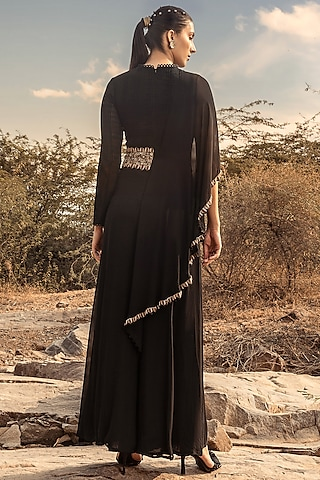 Black Jumpsuit With Belt by Ridhima Bhasin