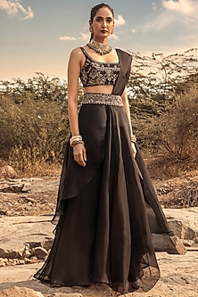 Black Embroidered Sharara Saree Set by Ridhima Bhasin
