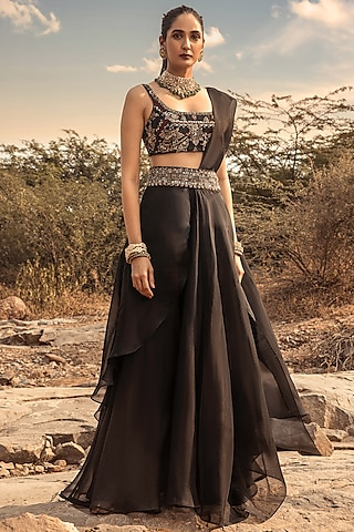 Black Embroidered Sharara Saree Set by Ridhima Bhasin