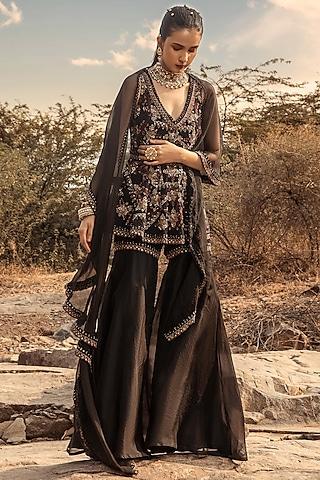 Black Embroidered Sharara Pant Set by Ridhima Bhasin
