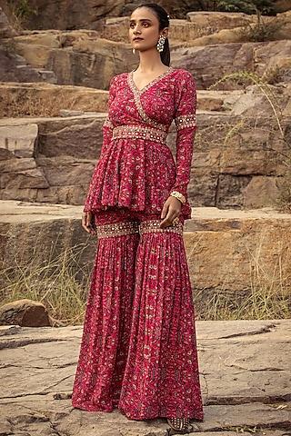 Fuchsia Embroidered Sharara Pant Set by Ridhima Bhasin