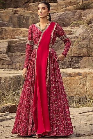 Fuchsia Embroidered Anarkali Set With Belt by Ridhima Bhasin