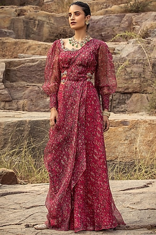 Fuchsia Pre-Draped Saree Set With Belt by Ridhima Bhasin