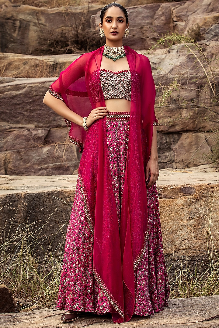 Fuchsia Embroidered High-Waist Skirt Set by Ridhima Bhasin