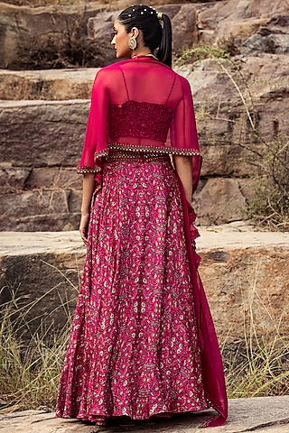 Fuchsia Embroidered High-Waist Skirt Set by Ridhima Bhasin