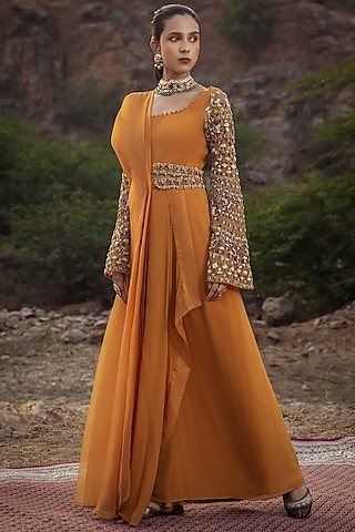 Mustard Embroidered Pre-Draped Saree With Belt by Ridhima Bhasin