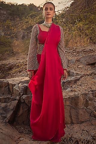 Fuchsia Embroidered Pre-Draped Saree With Belt by Ridhima Bhasin