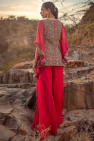 Fuchsia Embroidered Sharara Set by Ridhima Bhasin