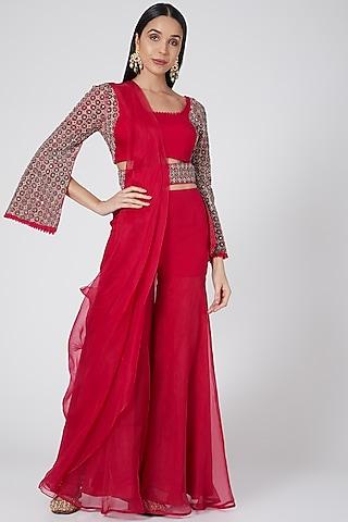 Fuchsia Pre-Draped Sharara Saree Set With Belt by Ridhima Bhasin