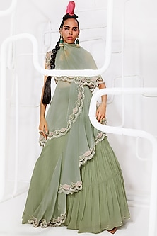 Mint Green Embroidered Pleated Skirt Saree Set by Ridhima Bhasin