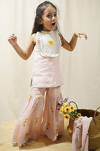 Sunset Pink Hand Embroidered Sharara Set by The Right Cut Kids