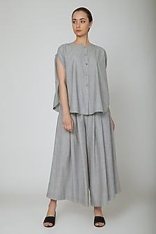 Grey Circular Cut Shirt With Buttons by Ritesh Kumar
