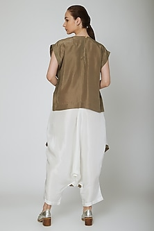 White Draped Loose-Fit Pants by Ritesh Kumar