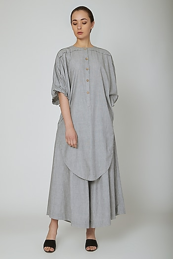 Grey Cotton Long Tunic by Ritesh Kumar