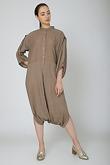 Brown Jumpsuit With Pockets by Ritesh Kumar