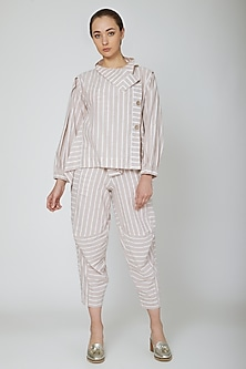 White Engineered Cropped Pants With Stripes by Ritesh Kumar