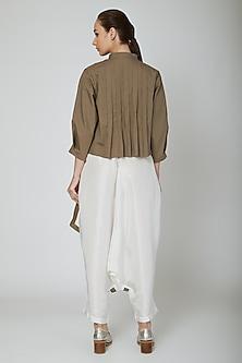 Brown Pleated Cropped Shirt by Ritesh Kumar