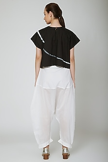 White Cotton Saraoule Pants by Ritesh Kumar