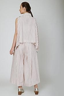 White Striped Draped Vest by Ritesh Kumar